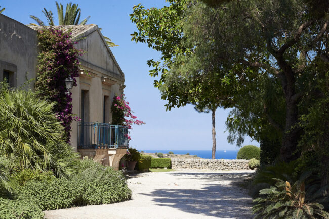 Magical landscape with sea and bouganville