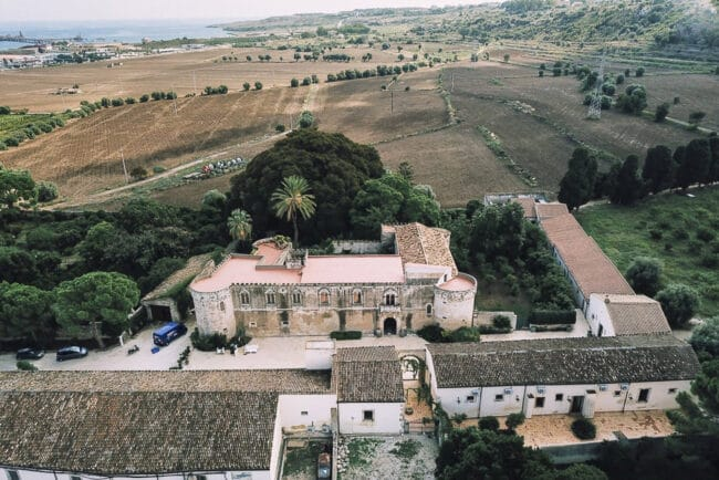 Aerial view of the entire structure in Sicily