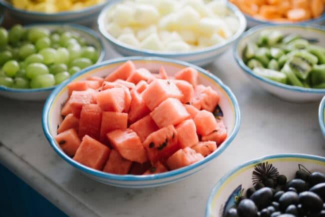 Banquet with fresh fruits