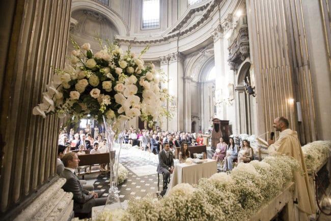 Beautiful flowers inside the church