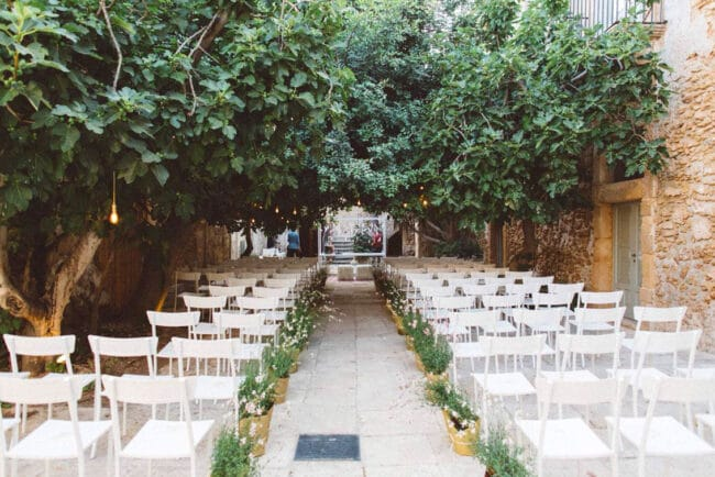 Courtyard for the ceremony in Sicily