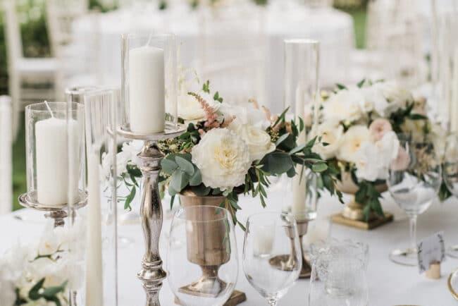 Elegant decorated wedding table detail