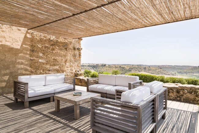 Furniture on the terrace with a view
