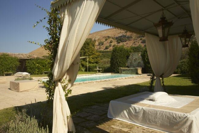 Gazebo and furniture for exterior sicilian villa