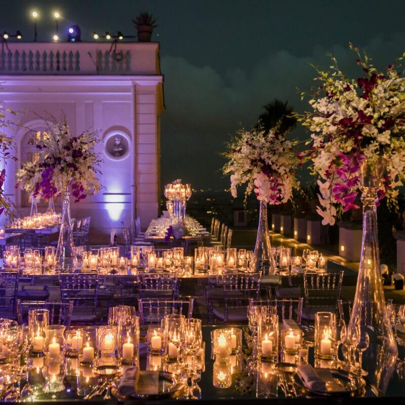 Lights flowers in a wedding villa