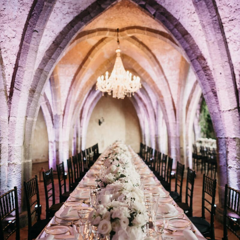 Table set in a luxury wedding venue in Ravello