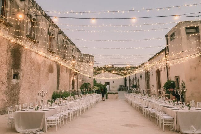 Starry sky in a rustic chic wedding venue