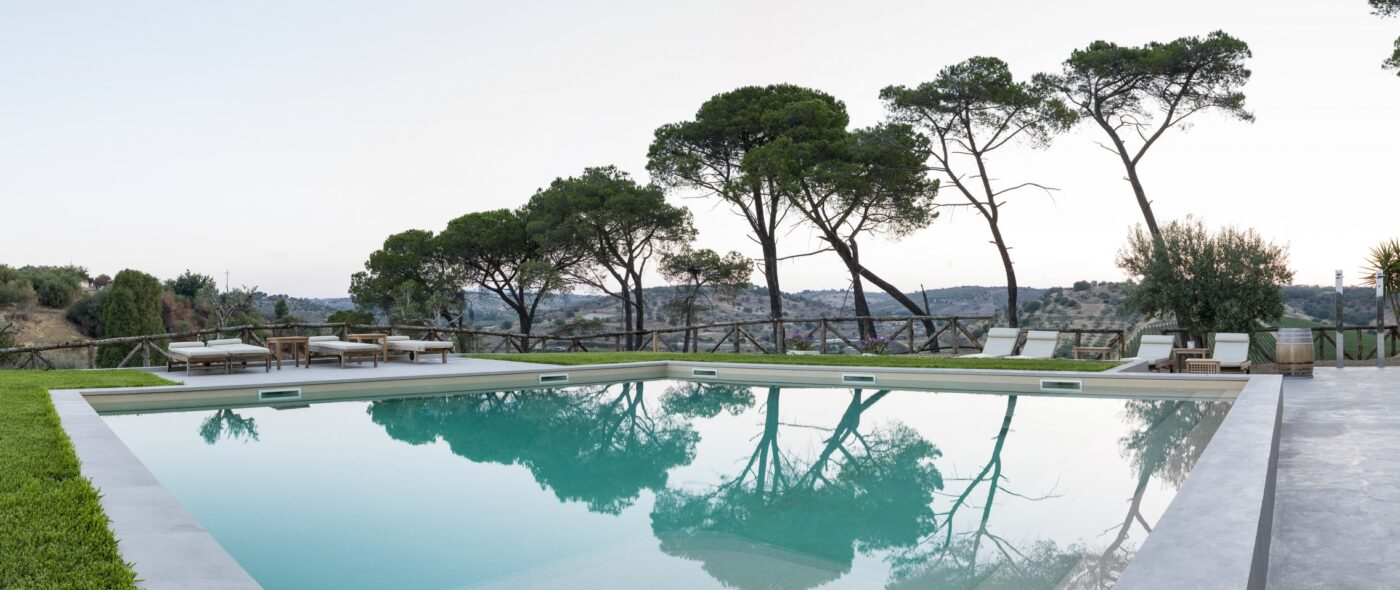 Swimmingpool in a typical sicilian view