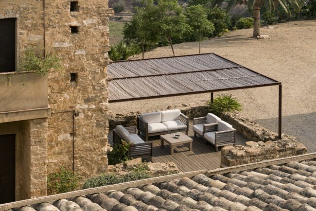 Top view of the terrace of the villa in Sicily