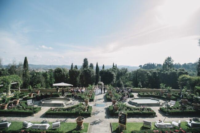 Top view of a Tuscany wedding villa gardens