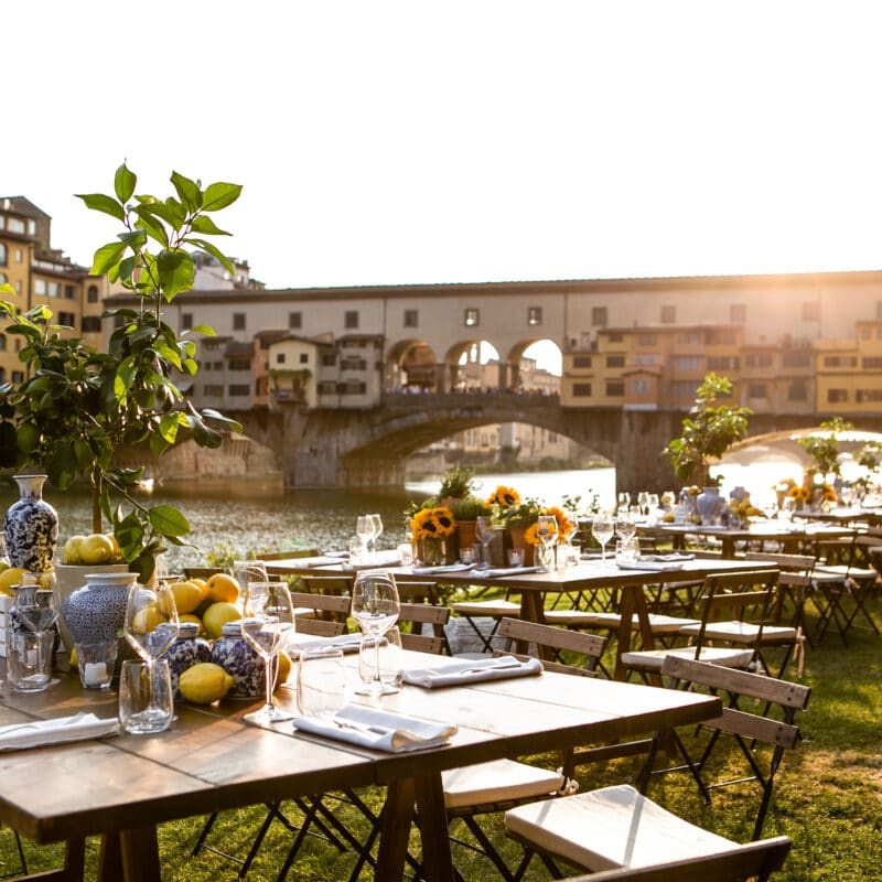 Wedding aperitif with ponte vecchio view