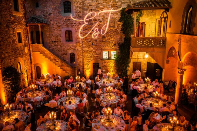 Exclusive reception in the evening in a wedding castle in Italy