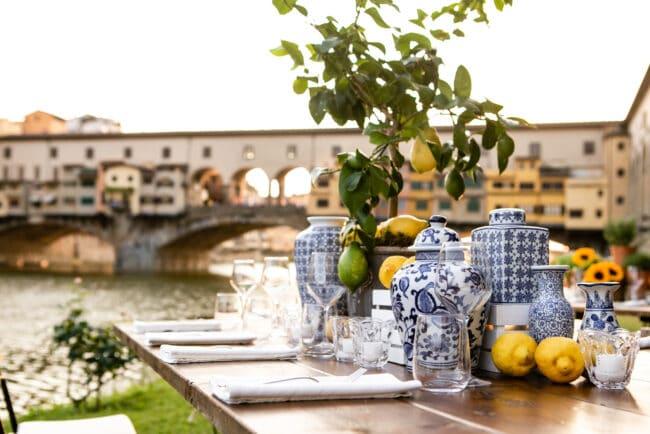 Wedding dinner overlooking the old bridge in Florence