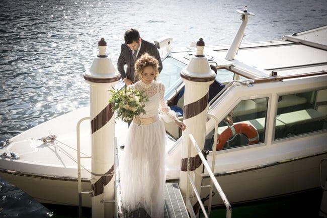 Bride arrival at luxury Villa del Balbianello