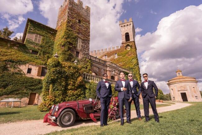 Groomsmen portrait in a wedding castle in Siena