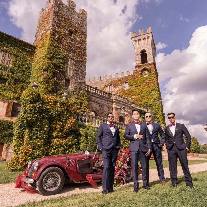 Groomsmen portrait in a wedding castle in Siena