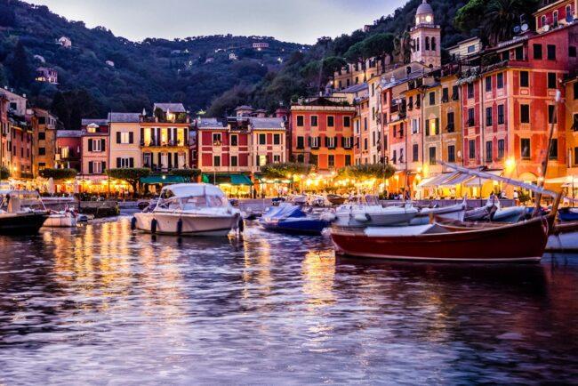 Boats at Portofino port in the evening