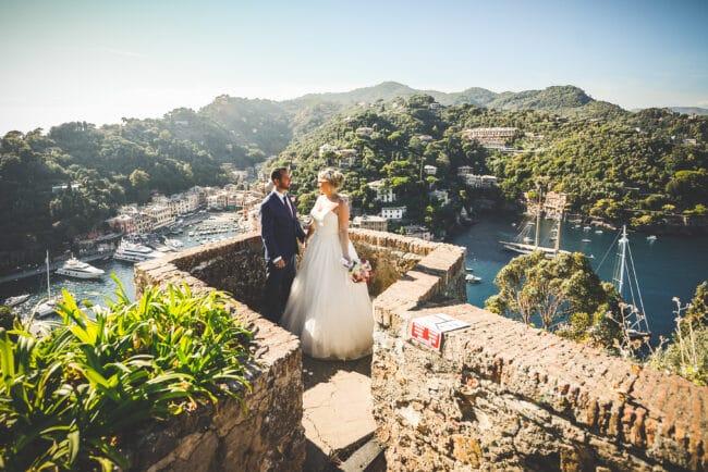 Castle with view of a wedding in Portofino