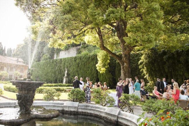 Wedding cocktail reception in a Como Lake villa garden