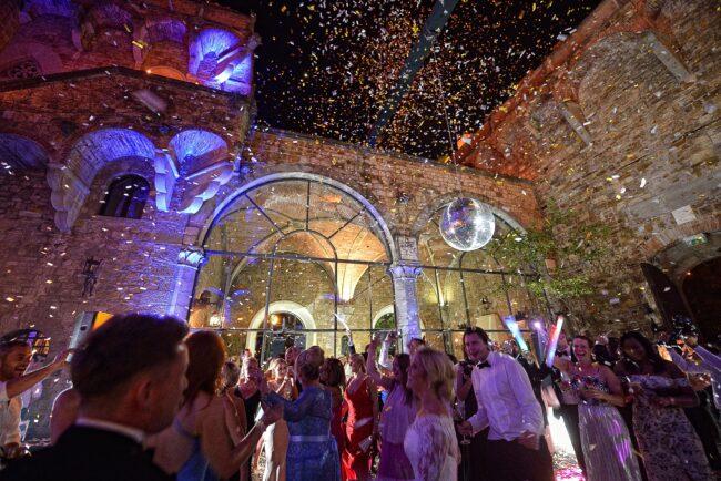 Night wedding party in an Italian castle