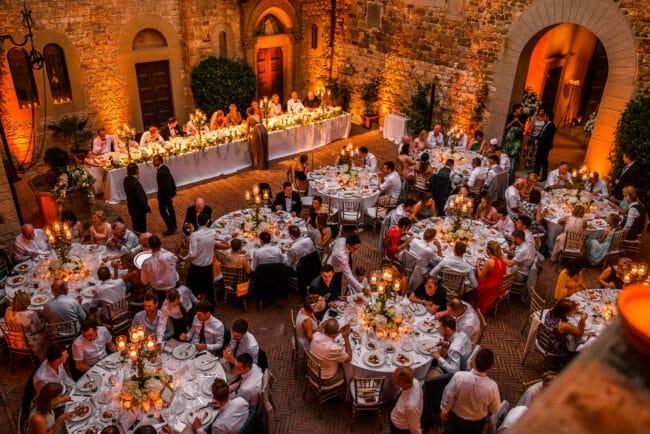 Wedding dinner in a luxury castle