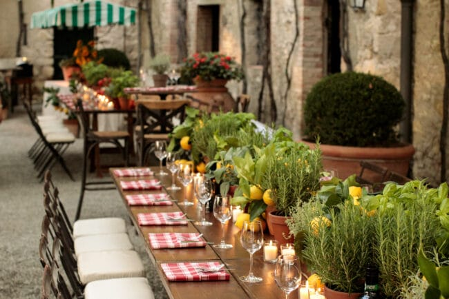 Rustic chic wedding dinner in a villa in Chianti