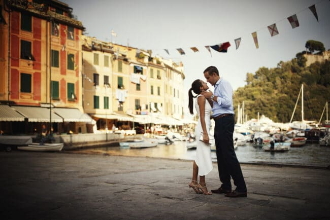 The newlyweds kiss during their small luxury wedding in Portofino