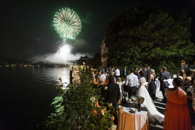 Party with fireworks at Villa Pizzo, a gorgeous wedding villa at Como Lake