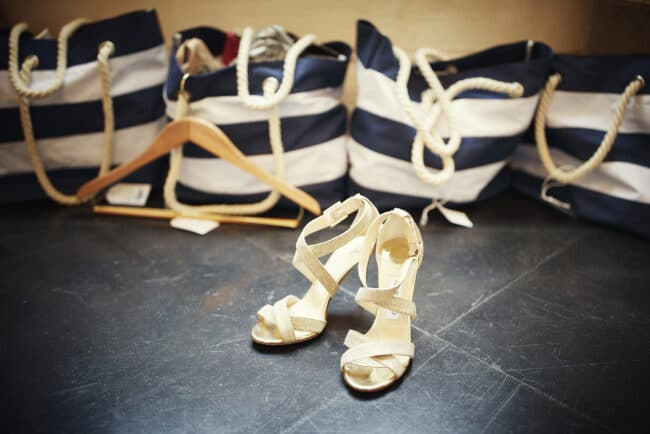 Wedding shoes and welcome bags