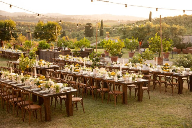 Country chic wedding dinner in a luxury wedding venue in Chianti