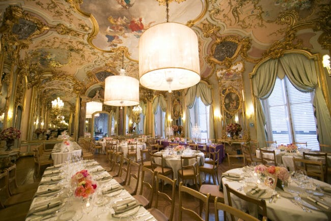 Decorated wedding hall in historic wedding villa