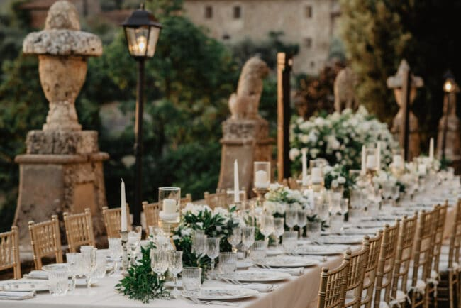 Wedding dinner table in a villa garden in Florence