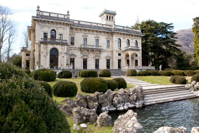 External view of an historical wedding villa in Como Lake