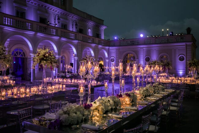 Luxury wedding with mirror tables and candelabras