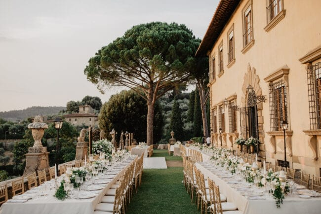 Rectangular tables for a wedding dinner in Tuscany