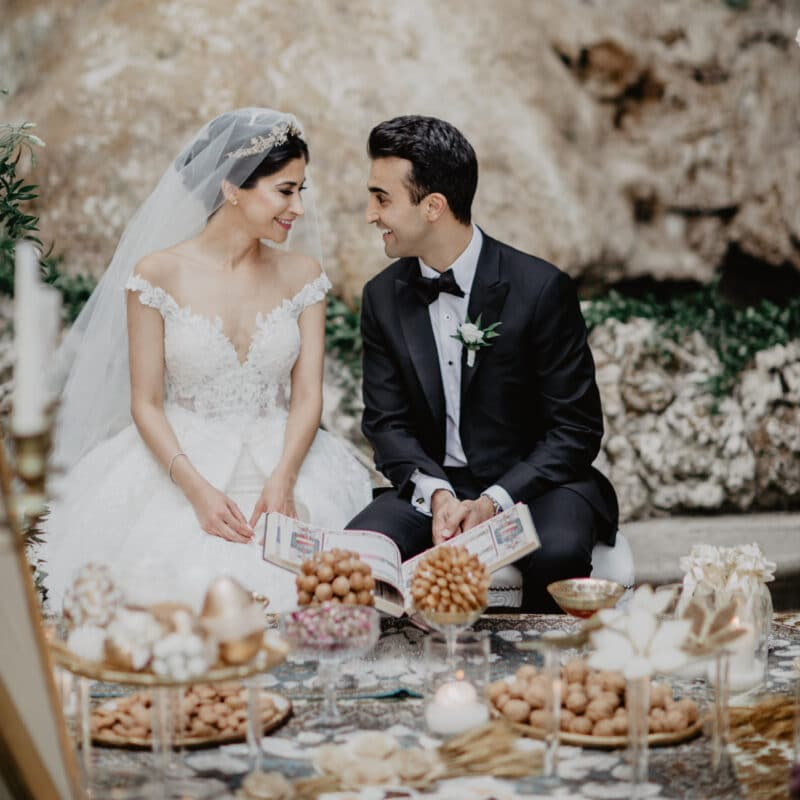 The bride and groom at their romantic wedding ceremony in Italy