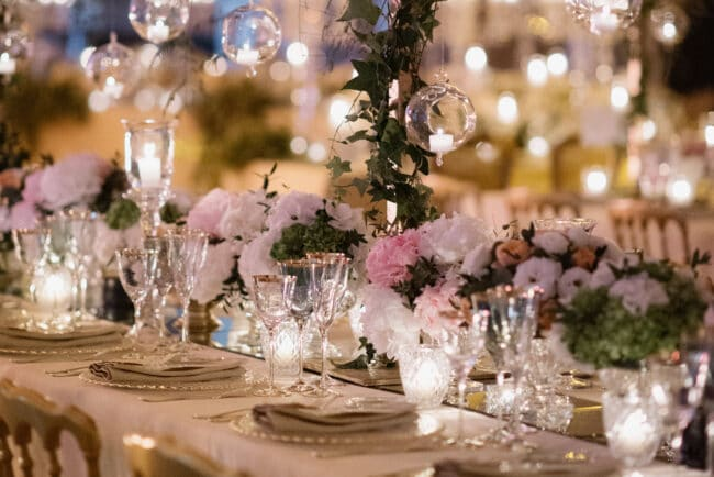Romantic wedding decoration with hanging candles