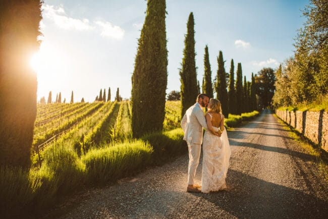 Intimate wedding in a vineyard in Tuscany