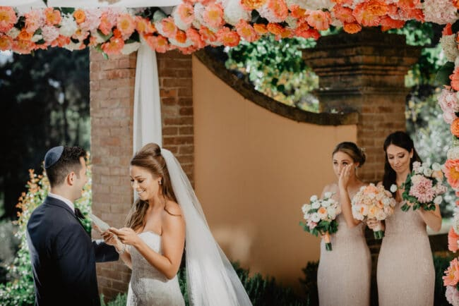 Jewish ceremony in Italy with a beautiful chuppah