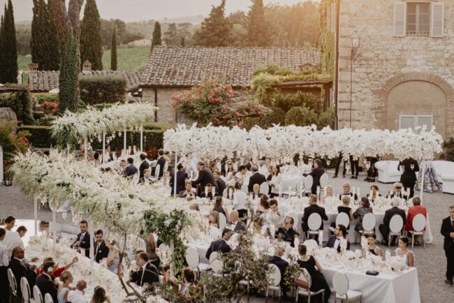 White themed wedding in Tuscany