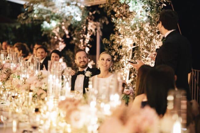 Romantic candlelight wedding dinner