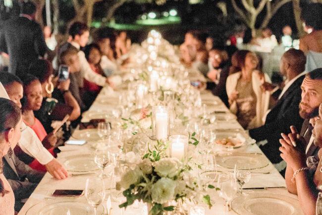 Wedding dinner under olive trees in Ravello