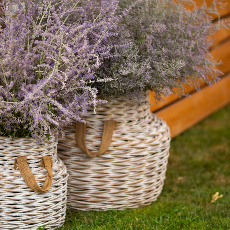 Wicker basket with flowers to decor the brunch