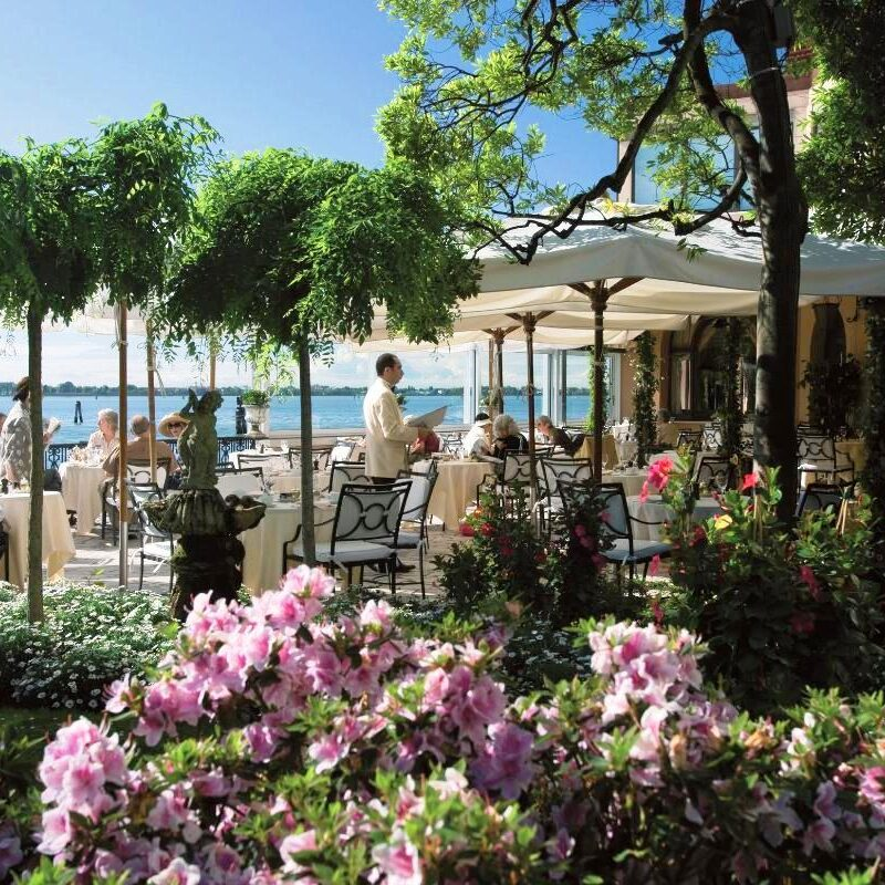 Terrace with garden in an exclusive hotel in Venice