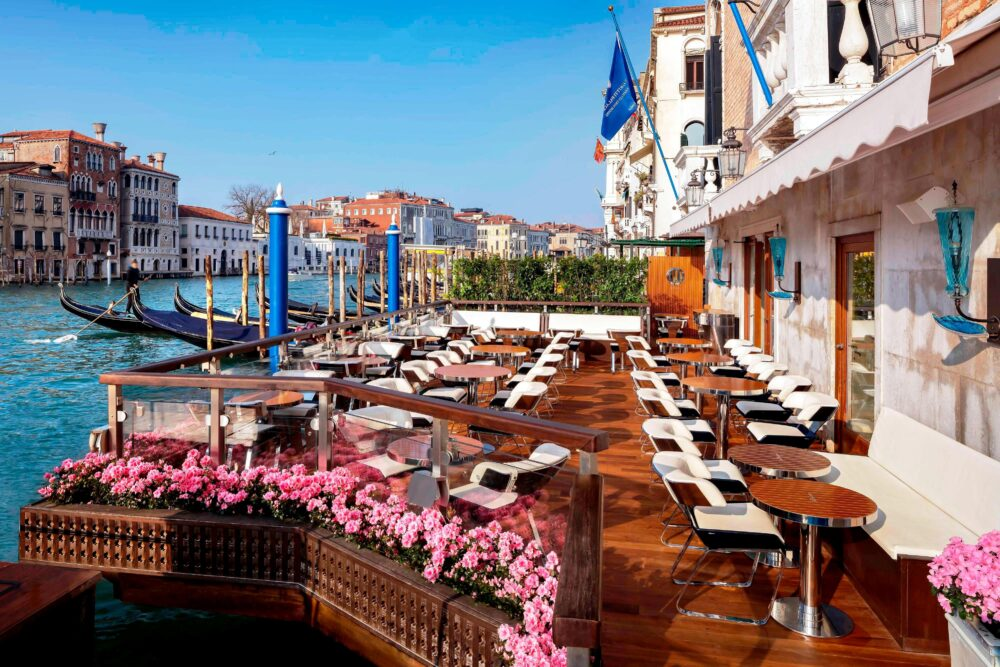 Terrace with Canal Grande view in a five stars hotel