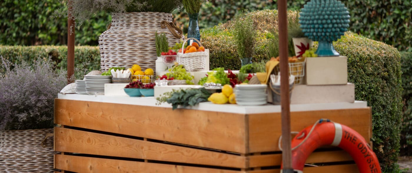 Brunch wedding buffet with wooden stations