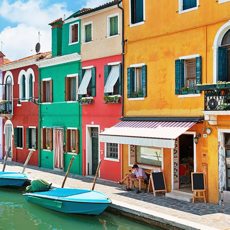 Colored houses in Burano, Venice italy