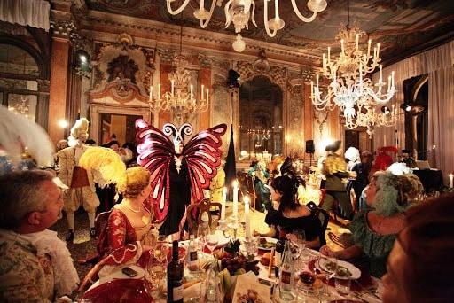 Amazing Carnival party in a palace in Venice