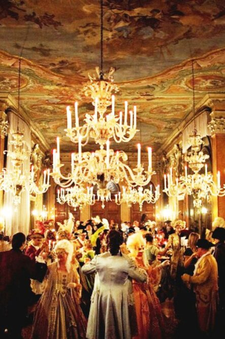 Luxury wedding party in a palace in Venice with canal view