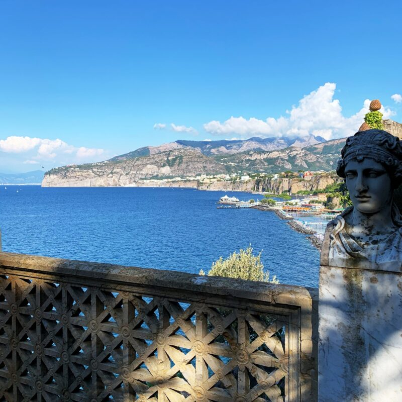 Places to get married in Sorrento: gulf view from the villa terrace